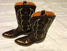 LUCCHESE 1883 Lizard Boots / Size 9 1/2 A - Black