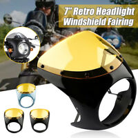 "Universal Cafe Racer Handlebar 7"" Headlight Windshield Fairing Screen For"