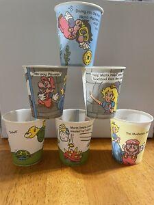 RARE 6 Vintage Super Mario Nintendo 1989 Retro Dixie Cups Bowser Princess
