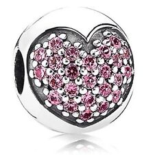 NEW 100% Authentic Pandora  Fancy Pink Pavé Heart Love Of My Life ,Clip791053CZS