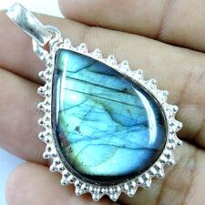 "60.00Cts Natural Blue Fire Labradorite Silver Overlay Handmade Pendant 1.75"""