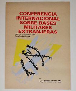 "1996 Original Cuban Silkscreen Poster""Military Bases""Castro.Army.Barb wire art"