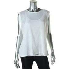 DKNY $79 White 2 PC Stretch Cotton Cut-Out Sleeveless Top Shirt SZ XL NWT