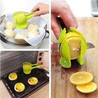 GreenPlastic Fruit Cutter Vegetable Lemon SlicerTomato Stand Utensil Cutter Tool