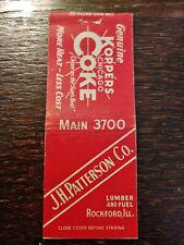 Vintage Matchcover: JH Patterson Lumber & fuel, Rockford, IL Kopper's Coke   R