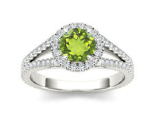 Natural Peridot 925 Sterling Silver Ring Halo Size 4 to 11