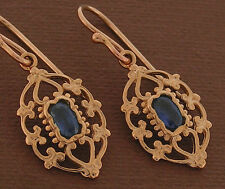 E069 Genuine 9K 9ct Rose Gold NATURAL Sapphire Dangle  Earrings Vintage Drops