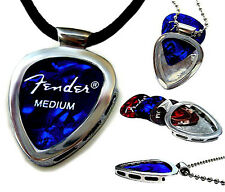 Stainless Steel Guitar Pick Holder Pendant w BLACK LEATHER cord PICKBAY set GIFT