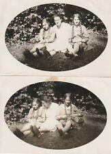 2 X Vintage Photo Pretty Girl With Braids 30er Years Bdm