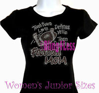Football Mom - Touch Down - Rhinestone Iron on T-Shirt -Hot Fix Bling Sports Top