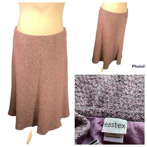 Ladies Lilac  Mix Skirt Size 20 EASTEX Elasticated  Waist Lined A Line Smart