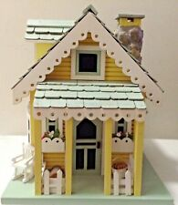 Large Country  Bird house - light blue and yellow, Novelty Cottage Wooden