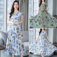 Lady Summer Boho Floral Print Short Sleeve Long Maxi Dress Party A Line Sundress