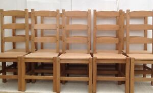 10 solid wood beech dining chairs