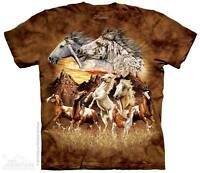 Horse Heard Equine T Shirt The Mountain White Mustang Stallion Horses Tee S- 5XL
