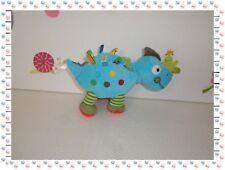 C - Doudou Peluche Dinosaure Bleu Vert Rouge Etiquettes Nicotoy