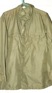 US ARMY FLYING SHIRT MANS OG NYLON FIRE RETARDENT RARE FIND GREEN