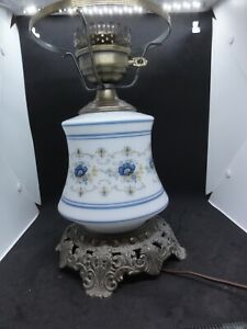 Vintage Quoizel Abigail Adams Blue Poppy Hurricane Lamp, Base Only, 12.5 inches
