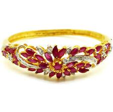 Thai Ruby Cubic Zirconia 23k 24k Yellow Gold GP Women Jewelry Bangle Bracelet