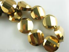 10pcs 18mm Faceted Glass Crystal Twist Discoid Loose Spacer Beads Gold Plated