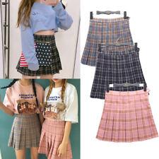 Korean Women Girl Slim Fit High Waist Pleated Tennis Skirts Mini Dress Playful