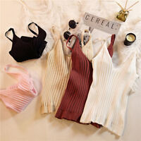 Summer Women Tops Spaghetti Strap V Neck Tank Cami Stretch Korean Bottom Blouse-
