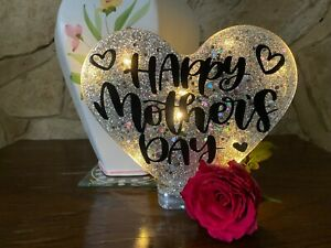 Happy Mothers Day Heart Handmade With or Without Lights in Super Sparkly Silver