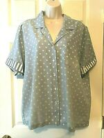 Alfred Dunner Blouse Plus Size 40 Blue Short Sleeve Button Down Shirt