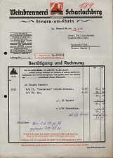 BINGEN a. Rhein, Rechnung 1950, Weinbrennerei SCHARLACHBERG Sturm & Co.