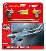Airfix De Havilland Vampire T.11 Aircraft Model Medium Starter Set 1:72 Humbrol