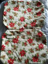 Set of 2 Christmas Kitchen Placemats Poinsettia Christmas - Amish Handmade B1