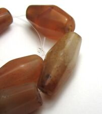 9 LARGE FACETED BANDED CARNELIAN AGTE EYE OLD MALI BEADS AFRICAN TRADE +