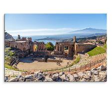 120x80cm Leinwandbild auf Keilrahmen Ruine Theater Taormina Sizilien Ätna