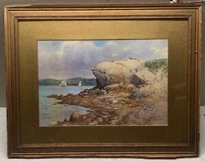 Antique C MYRON CLARK 'Sailing of Gloucester' CAPE ANN Coast SEASCAPE Painting