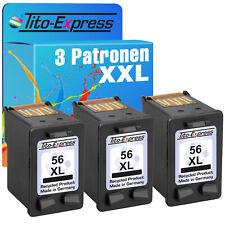 3 Patronen Schwarz für HP 56 XL DeskJet 5552 5650 5652 5655 5850 9650 9670 9680