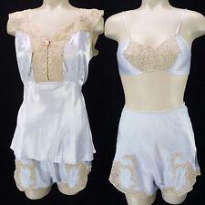 Vintage 30s 40s Blue Satin Lace 3-Piece Pajama Set Sz S Bra Babydoll Top Shorts