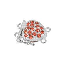 Fine Sterling Silver 2-strand Pearl Heart Box Clasp with CZ Orange #51492