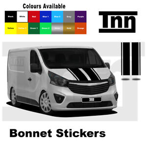 Stripes Bonnet Stickers Decals for Vauxhall Vivaro Camper Motorhome SWB LWB MK2