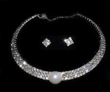 Parure Ras de cou Argenté + Perle  Bijoux Strass Pour un Mariage ou une Soirée