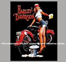 Vintage Harley Davidson Motorcycle PHOTO Poster Advertisement Pinup Girl Washing