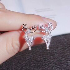 Fashion Christmas Crystal Elk Earrings Ear Stud Women Jewellery Christmas Gift