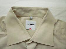 E7806 Olymp Luxor Businesshemd Kombimanschette 44 beige Unifarben Neuwertig