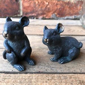 S/2 Bronze Effect Resin Vintage Mice Home Garden Decorative Figurines Ornaments