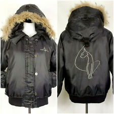 Baby Phat Down Filled Jacket Hood w/ Genuine Coyote Fur Trim Embroidered Women M