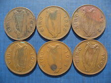 Ireland Pennies 1942 1949 1952 1963 1964 & 1968.