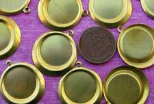Vintage 22 x 25mm Aged Brass Bezel Settings Charms 12
