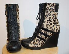 ADIDAS ORIGINALS X Jeremy Scott Leopard Pony Skin Wedge Boots Shoes Ladies US8.5