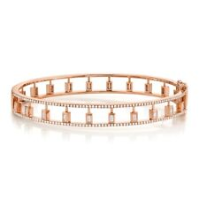 "Baguette Diamond Bangle 14K Rose Gold Womens Size 17 Small Bracelet 6.5"" Bezel"