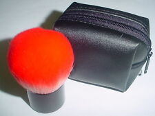 Cosmetic Red Kabuki Brush Case Black pouch Synthetic Fiber Carry Easy new