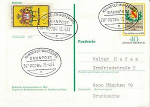 Bahnpost   Hannover - Würzburg  1983